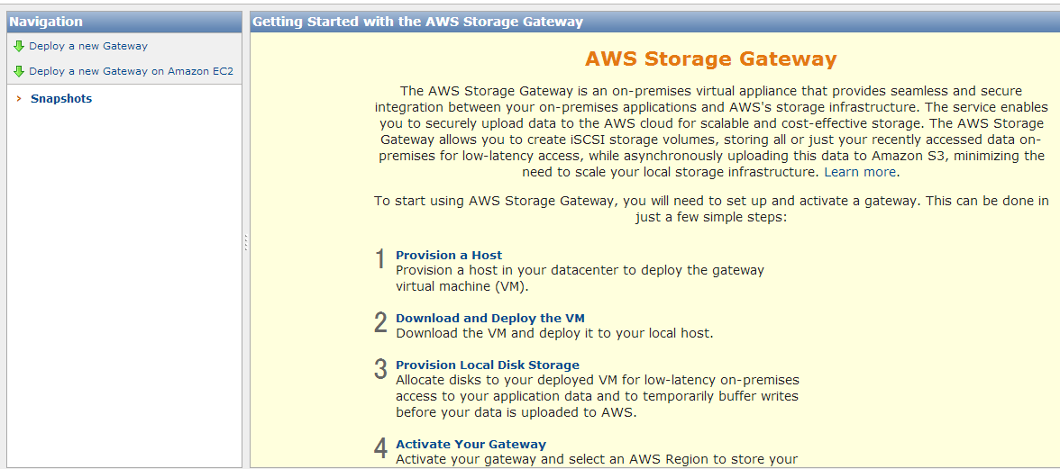 Storage Gateway Deploy a new Gateway on Amazon EC2