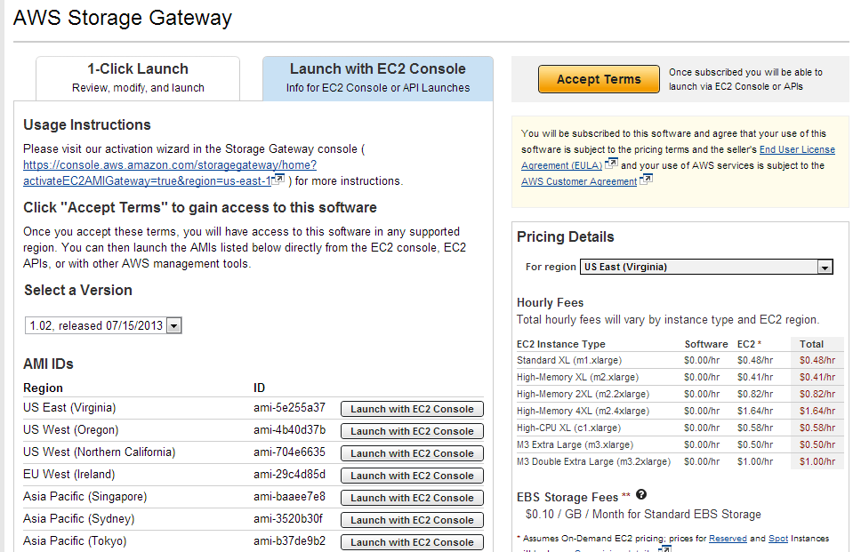 Storage Gateway Accept Terms
