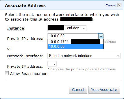 Secondary private address にEIP紐付け